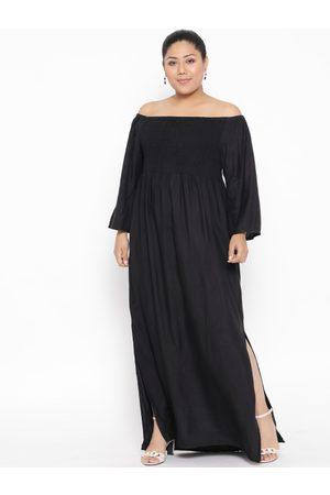 Revolution Plus Size Women Black Solid Off-Shoulder Maxi Dress