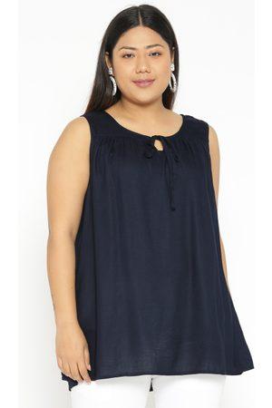 Revolution Plus Size Women Navy Blue Solid Top