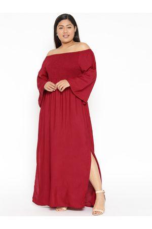 Revolution Plus Size Women Maroon Solid Maxi Dress