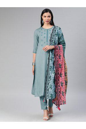 Rain & Rainbow Women Grey Embroidered Kurta with Trousers & Dupatta