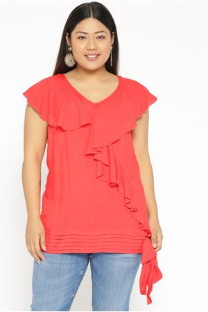 Revolution Women Tops - Plus Size Women Coral Pink Solid Top