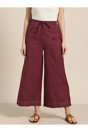Sangria Women Maroon Solid Wide Leg Cropped Palazzos