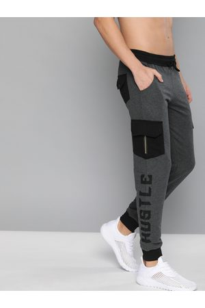 HERE&NOW Men Charcoal Grey & Black Printed Straight Fit Joggers with Pocket Detailing