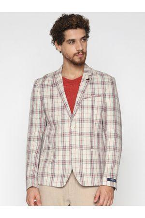 Jack & Jones Men Beige & Red Checked Slim Fit Single-Breasted Casual Blazer