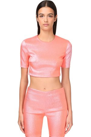 AREA Women Crop Tops - Stretch Lamé Crop Top