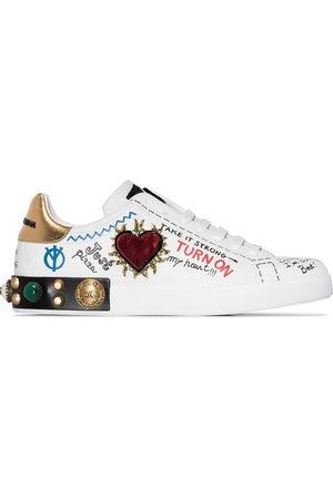 Dolce & Gabbana Portofino graffiti print low top leather sneakers