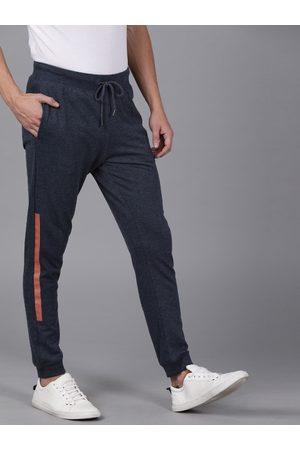 WROGN Men Navy Blue Slim Fit Solid Joggers With Side Stripes