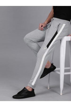WROGN Men Joggers - Men Grey Melange Slim Fit Solid Joggers With Side Stripes