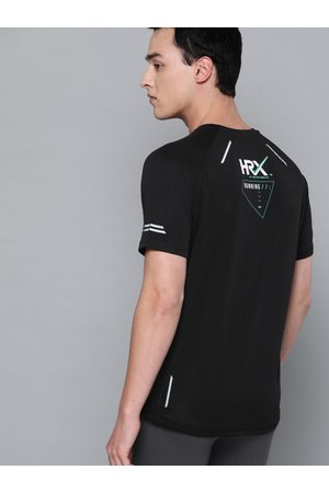 HRX Men Black Solid Running T-shirt