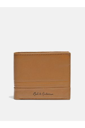 Mast & Harbour Men Tan Brown Solid Genuine Leather Two Fold Wallet