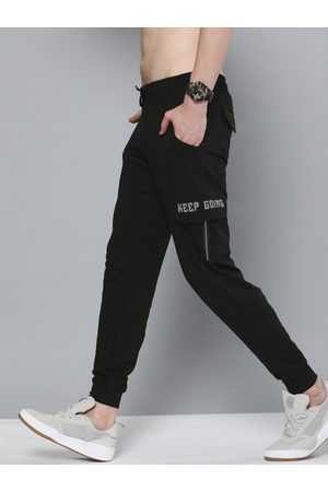 HERE&NOW Men Black Solid Straight Fit Joggers With Printed Detailing