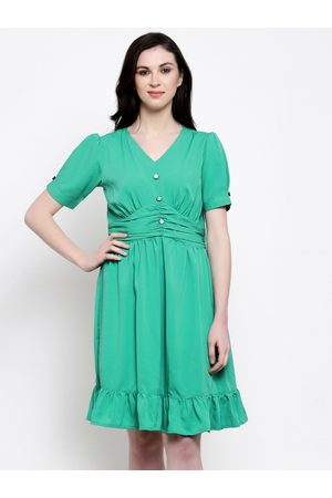 Karmic Vision Women Green Solid Fit and Flare Dress