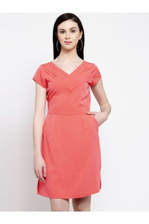 Karmic Vision Women Coral Solid Fit and Flare Dress