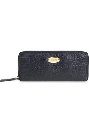 Hidesign Women Black Crocodile Skin Textured RFID Protected Leather Zip Around Wallet