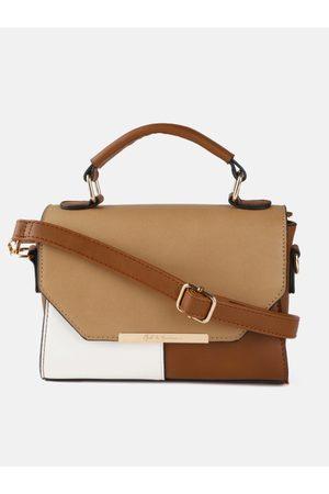 Mast & Harbour Women Handbags - Brown & White Colourblocked Satchel