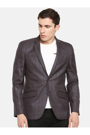 Parx Men Maroon & Olive Green Checked Slim Fit Single-Breasted Casual Blazer