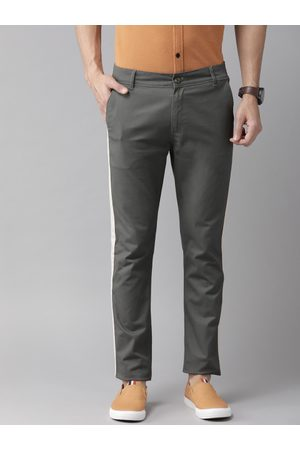 Hubberholme Men Charcoal Grey Slim Fit Solid Regular Stretchable Trousers