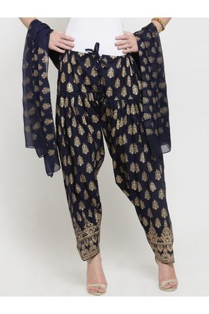Clora Creation Women Navy Blue & Gold-Toned Block Printed Salwar & Dupatta Set