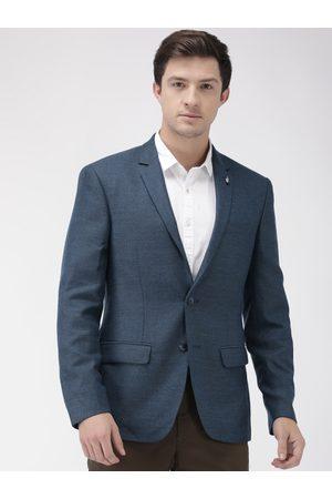 Park Avenue Men Blue Self-Design Slim Fit Single-Breasted Formal Blazer