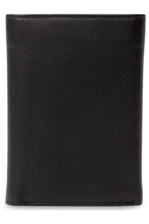 Teakwood Leathers Men Black Solid Three Fold Wallet