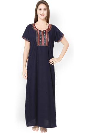 Sand Women Navy Embroidered Maxi Nightdress 3982