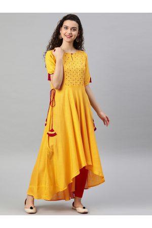 Yash Gallery Women Yellow Embroidered Asymmetric A-Line Kurta