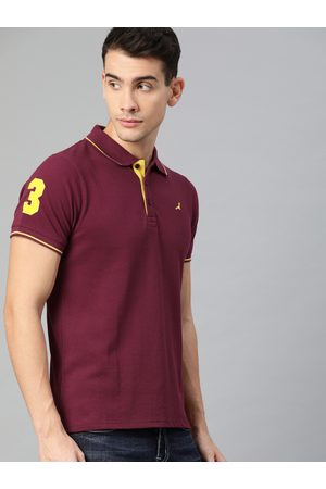 American Crew Men Maroon Solid Polo Collar T-shirt