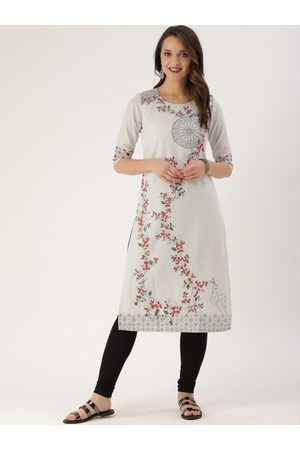 ETIQUETTE Women Off-White Printed Straight Kurta with Lining