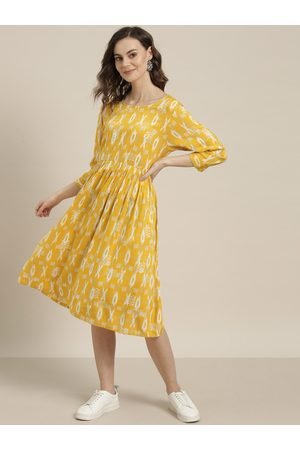 Sangria Women Mustard Yellow & Off-White Printed A-Line Dress