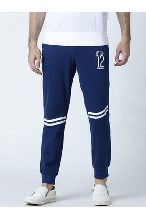 Huetrap Men Blue Solid Straight Fit Joggers