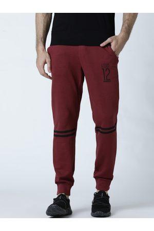 Huetrap Men Maroon Solid Straight Fit Joggers