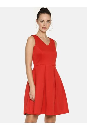 Aara Women Red Solid Fit and Flare Dress