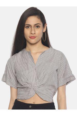 Aara Women Taupe & White Striped Crop Top