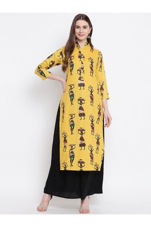 Kvsfab Women Yellow & Black Printed Kurta with Palazzos
