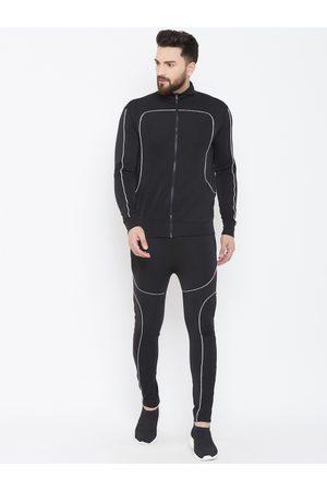 FUGAZEE Men Black Solid Scuba Zipped Reflective Slim-Fit Tracksuit
