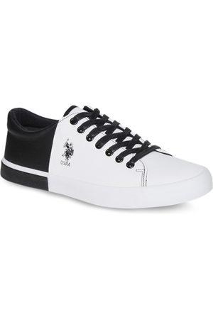 Ralph Lauren Men White & Black Colourblocked Sneakers