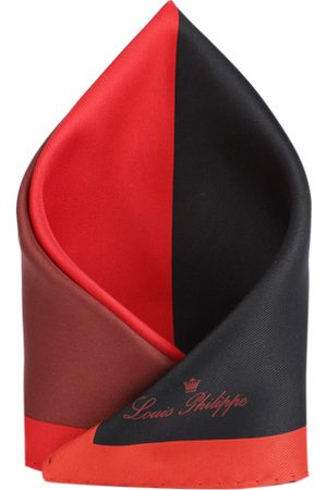 Louis Philippe Men Red & Black Colourblocked Pocket Square