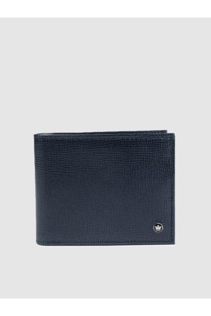 Louis Philippe Men Navy Blue Textured Two Fold Leather Wallet