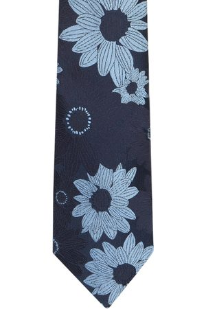 Louis Philippe Navy Blue Woven Design Broad Tie