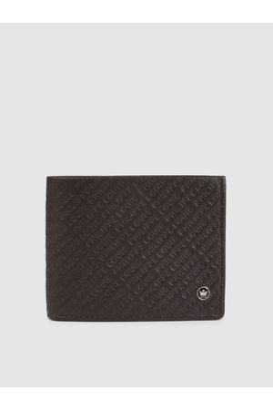 Louis Philippe Men Brown Textured Two Fold Leather Wallet