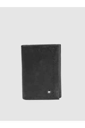 Louis Philippe Men Black Solid Three Fold Leather Wallet