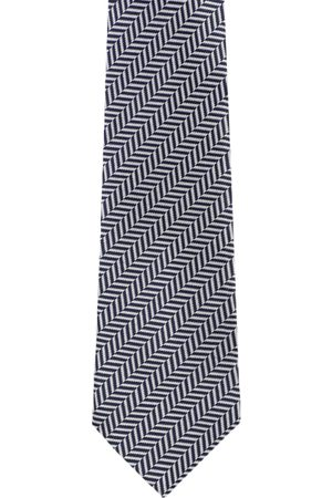 Louis Philippe Navy Blue & White Woven Design Broad Tie