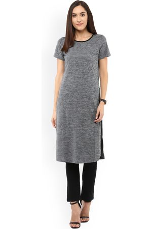 109F Women Grey Self-Design Longline Top