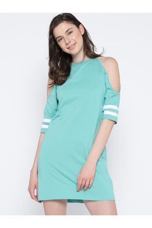 Miss Chase Women Sea Green Solid Shift Dress