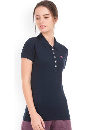 Aeropostale Women Navy Blue Solid Polo Collar T-shirt