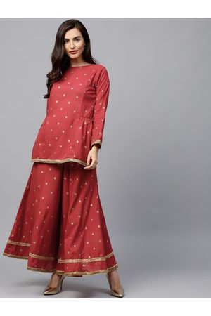 Bhama Couture Women Red & Golden Printed Kurti with Palazzos