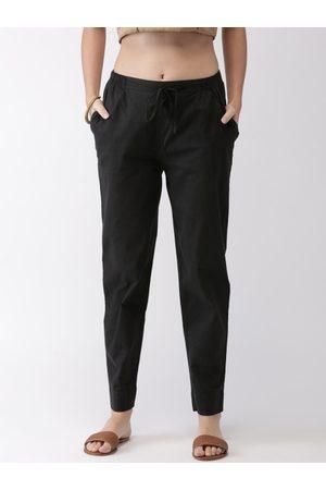 GO COLORS Women Black Regular Fit Solid Peg Trousers