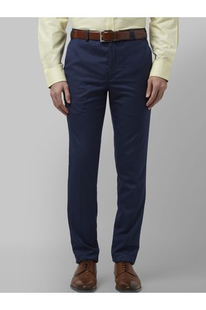 Park Avenue Men Blue Regular Fit Self Design Formal Trousers