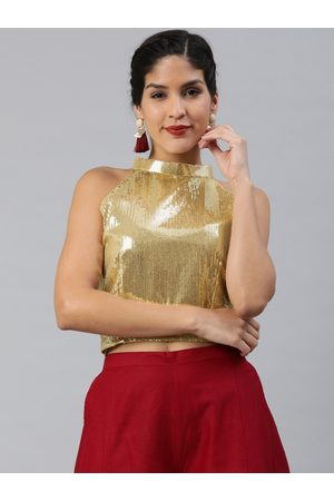Inddus Women Gold-Toned Georgette Sequinned Crop Top
