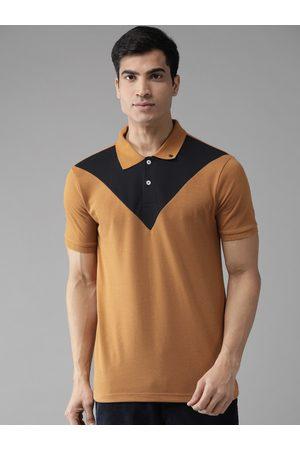 Hubberholme Men Mustard Brown & Black Colourblocked Polo Collar T-shirt